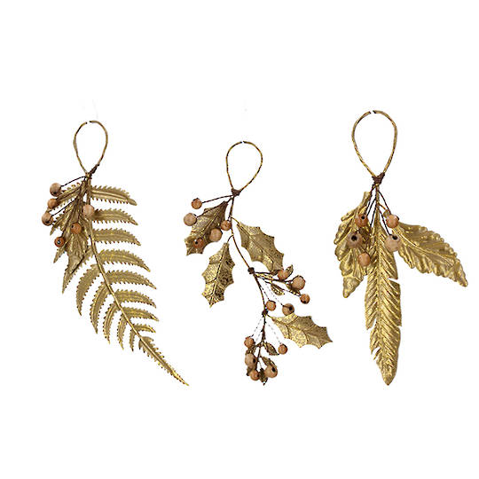 Tin Gold Painted Leaf & Berry 9cm