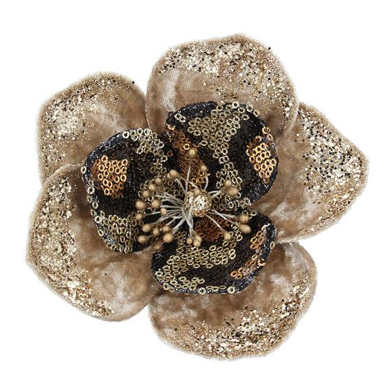 Fabric Gold Sequin Flower Clip 14cm