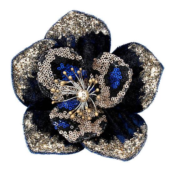 Fabric Cobalt & Gold Sequin Magnolia Clip 13cm