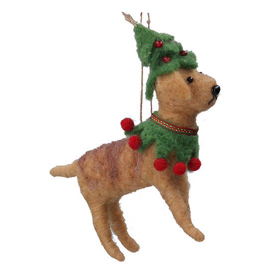 Wool Dog in Xmas Outfit 15cm