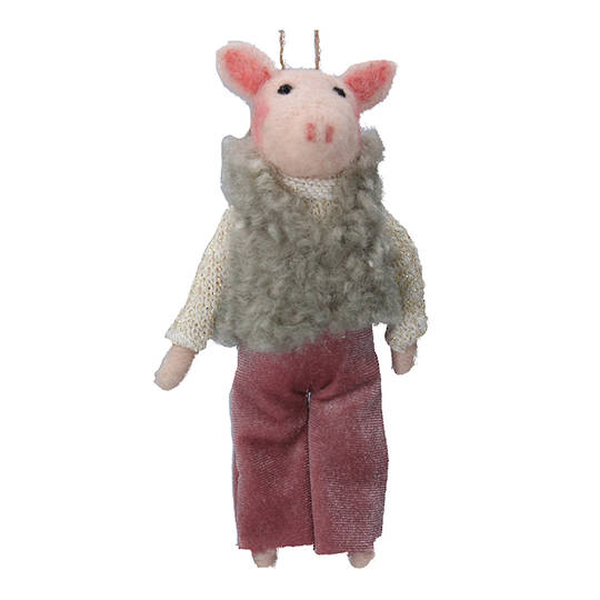 Wool Pig in 1970's Outfit 15cm