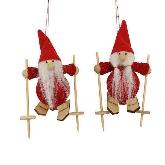 Red Felt Wool Santa on Skis 13cm