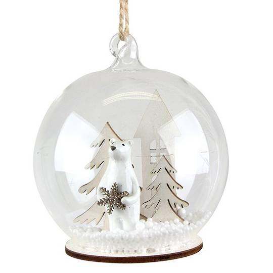 Glass Ball Clear, Polar Bear Inside 8cm