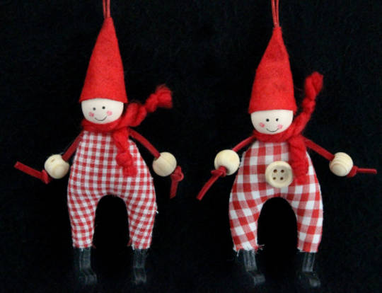Hanging Red/White Gingham Pixie