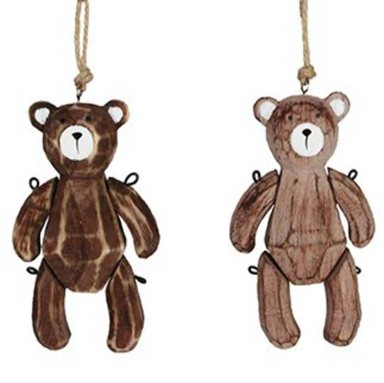 Natural Wood Jointed Teddy 11cm