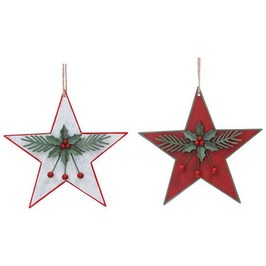 Tin Star with Holly 16cm