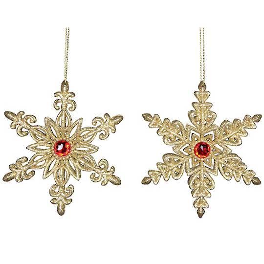 Acrylic Gold Red Gem Snowflake 12cm