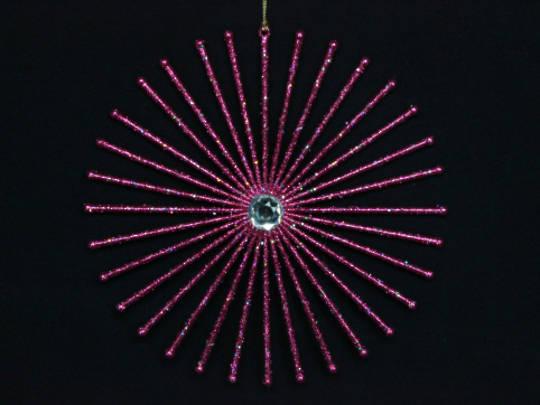 Fuschia Glitter Star Burst 20cm