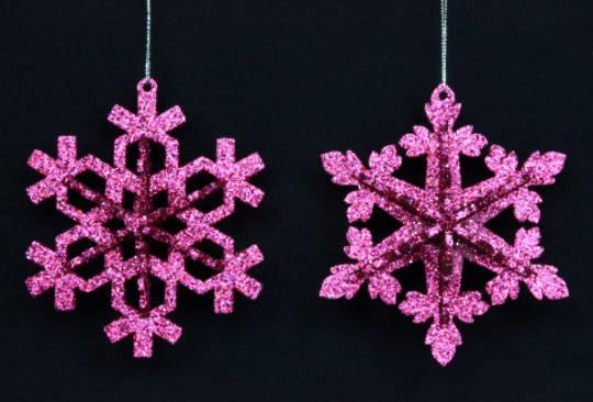 Glitter Fushia Pink Snowflake 12cm