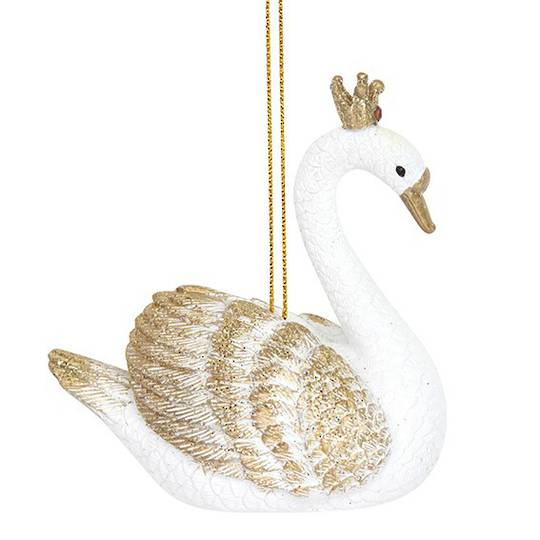 Resin White and Gold Swan 7cm