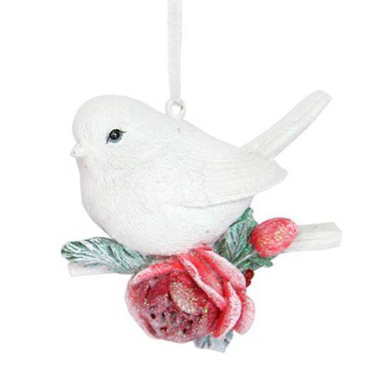Resin White Bird with Red Rose 7cm