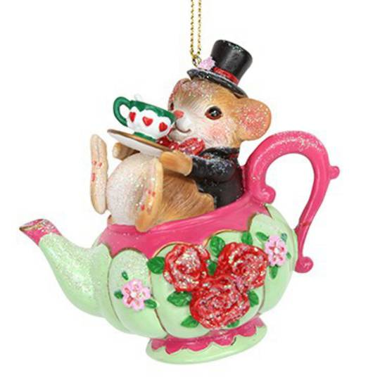 Resin Dormouse in TeaPot 8cm