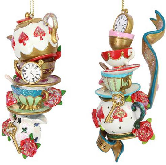 Resin Queen of Hearts TeaPot & Cup Stack
