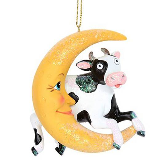 Resin Cow Jumps Over the Moon 8cm