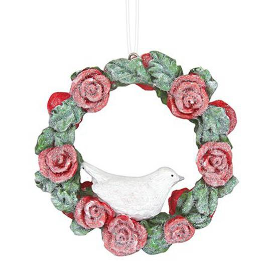 Resin Red Rose Mini Wreath with Bird 7cm