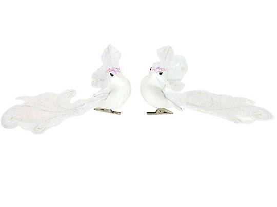 Clip, White Iridescent Bird with Filigree Wings and Tail 16cm
