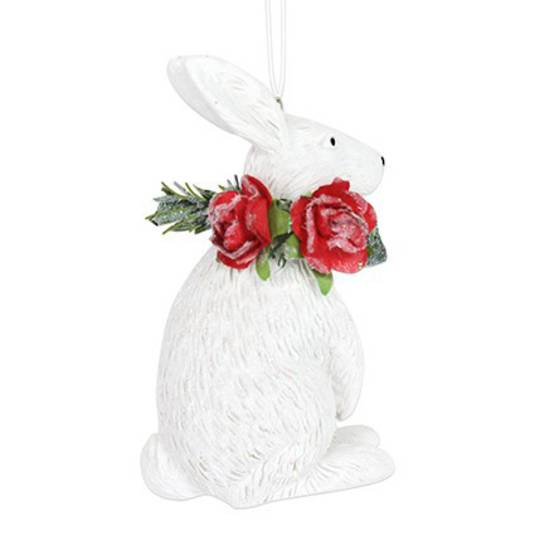 Resin White Rabbit with Red Roses 7cm