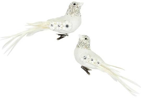 Clip, Cream and White Flowers on Bird 10cm