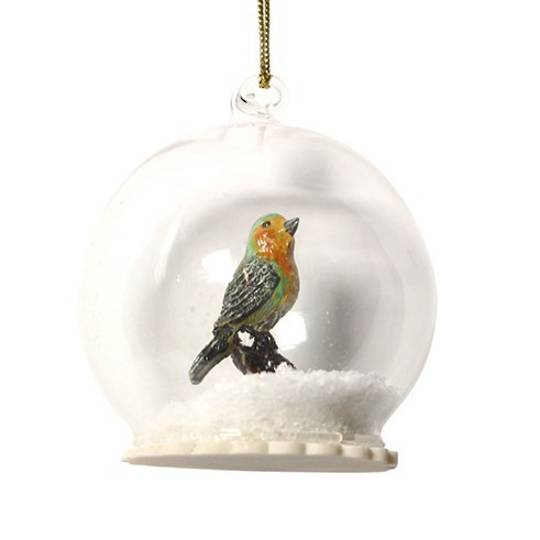 Glass Ball Clear, Robin Inside 8cm