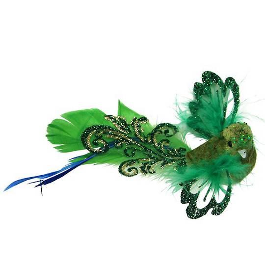 Clip, Green Feather Flying Bird 14cm
