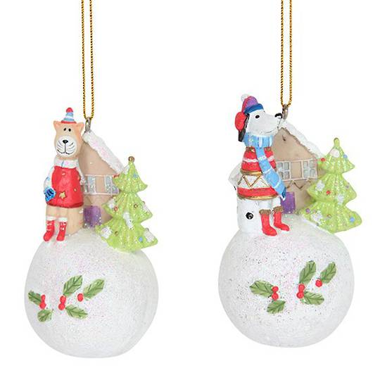 Resin Fun Winter Snowball with Pet 7cm