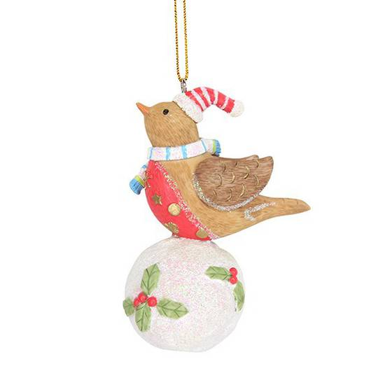 Resin Snowball with Robin 7cm