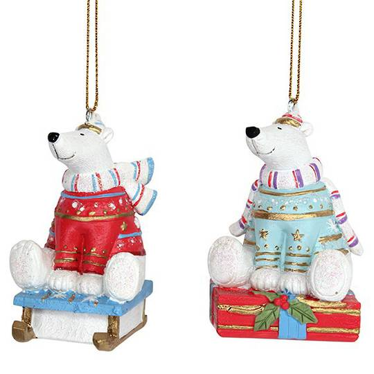 Resin Fun Winter Polar Bear on Sledge 7cm