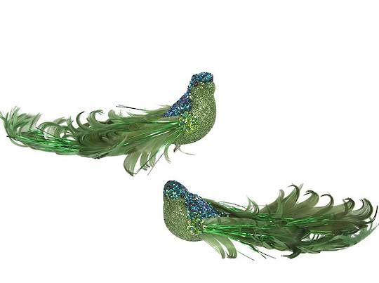 Clip, Green Glitter & Curly Feather Bird 14cm