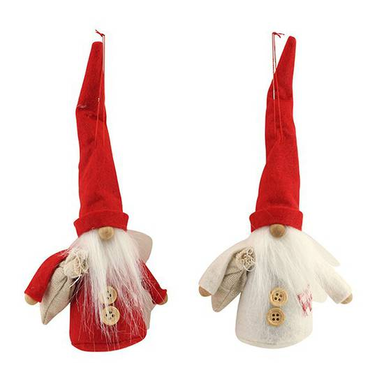 Fabric Nordic Santa w/Tall Hat 14cm
