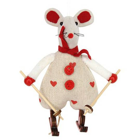 Calico Fabric Sking Mouse 8cm