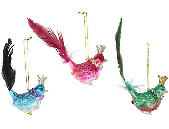 Vibrant Glass Bird with Feather Tail 14cm