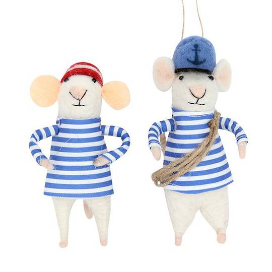 Wool White Sailor Mouse 15cm