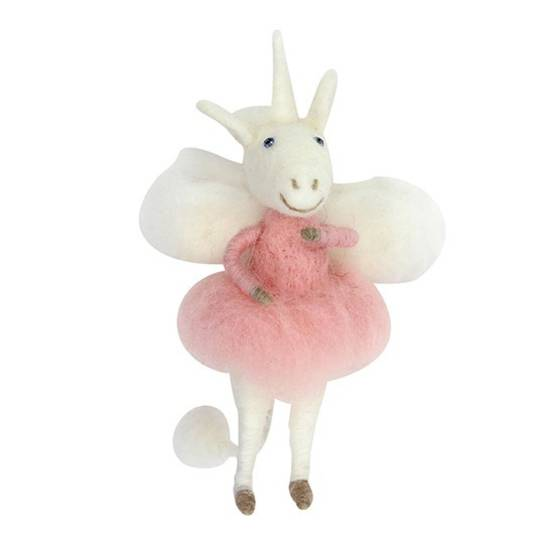 Wool White Unicorn Fairy 16cm