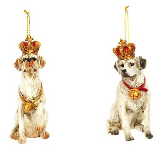 Resin Dog with Crown 9cm