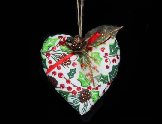Woodland Holly Fabric Heart 8cm