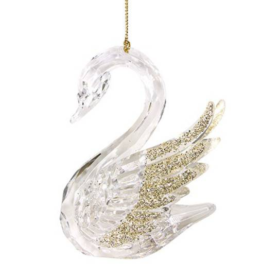 Acrylic Clear and Gold Swan 13cm