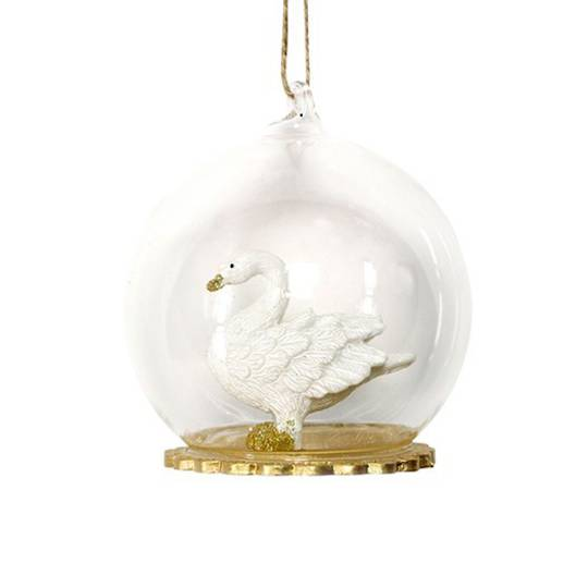 Glass Ball Clear, Resin Swan Inside 8cm