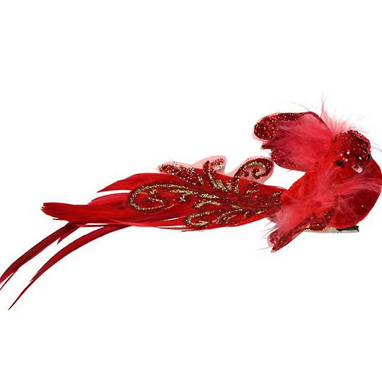 Clip, Red Feather Bird 14cm