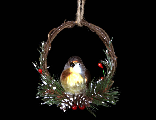 Glass Robin in Twig Ring 10cm