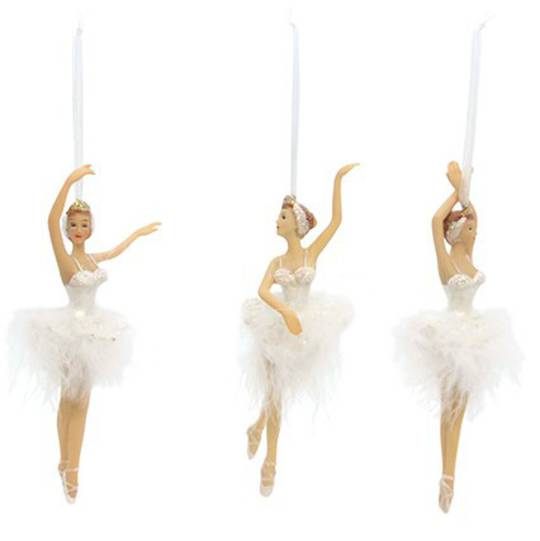 White Feather & Resin Ballerina 17cm