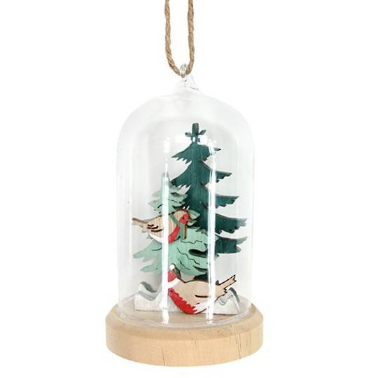Glass Dome, Robin in Trees Inside 14cm