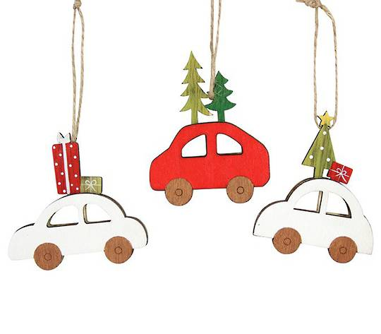 Wood Car Xmas Delivering 7cm
