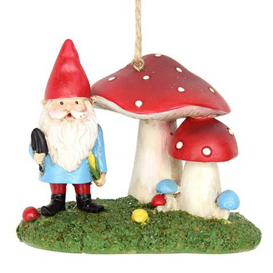Resin Gnome with Toadstools 12cm