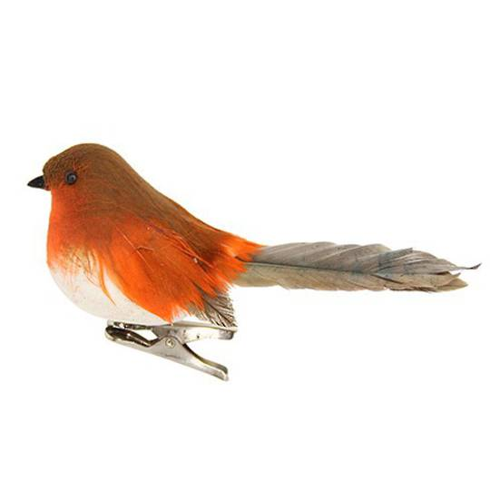 Clip, Natural Feather Robin 11cm