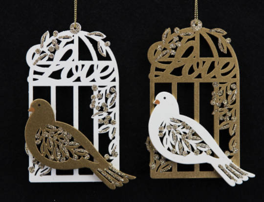 Wood Fretwork Gold & Cream Birdcage with Dove