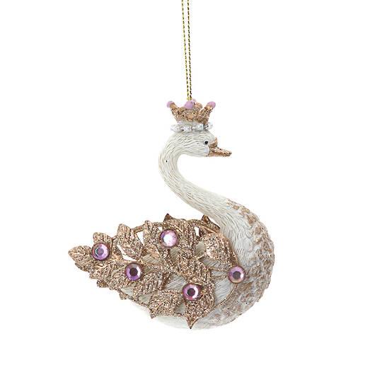 Resin Swan Pink Gem 9cm