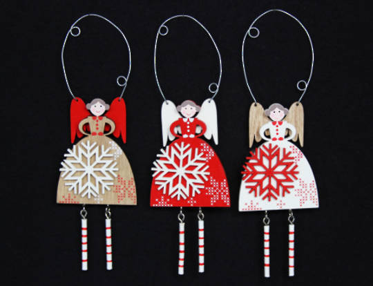 Hanging Wooden Scandi Snowflake Fairy