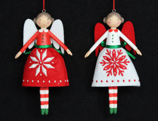 Hanging Resin and Fabric Scandi Snowflake Fairy 12cm