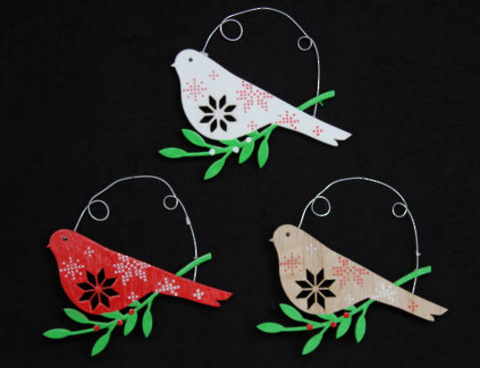 Wood Painted Bird on Branch with Snowflake