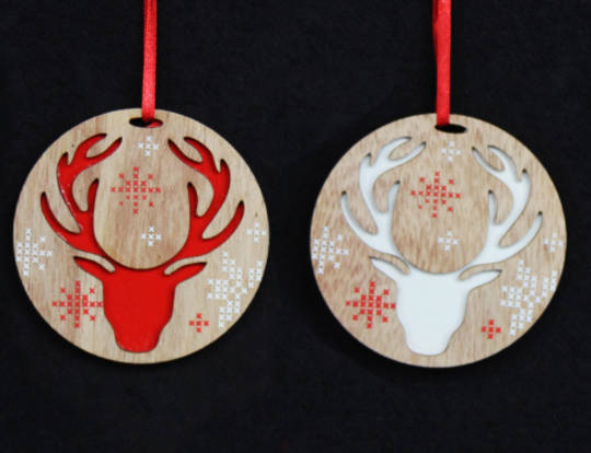 Wood Disc Scandi Snowflake Reindeer